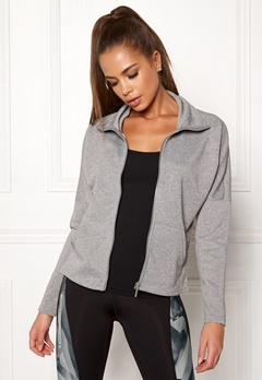 ONLY PLAY Zira Glitter Zip Sweat Medium Grey Melange Bubbleroom.fi
