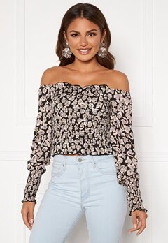 ONLY Rocky Rose LS Cropped Smock Top Black Bubbleroom.fi