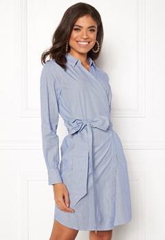 ONLY Rosel LS Wrap Dress Medium Blue Denim Bubbleroom.fi