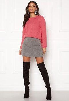 ONLY Sara Button Skirt DK Grey Melange Bubbleroom.fi