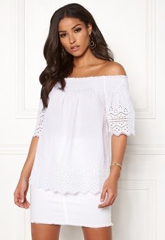 ONLY Shery Anglaise Top White Bubbleroom.fi