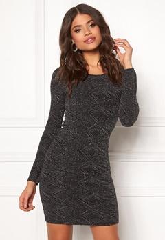 ONLY Shine L/S Dress Black/Silver Lurex Bubbleroom.fi