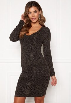 ONLY Shine L/S V-Neck Dress Black Bubbleroom.fi