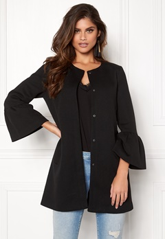 ONLY Sia Frill Light Melange Coat Black Bubbleroom.fi