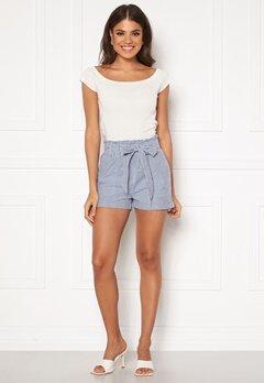 ONLY Smilla Stripe Belt Shorts Medium Blue Denim Bubbleroom.fi