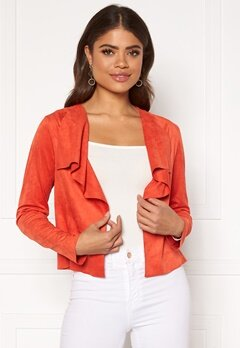 ONLY Stacy Drapy Faux Suede Jacket Spicy Orange Bubbleroom.fi