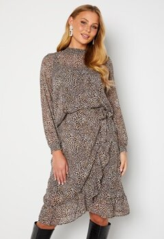 ONLY Star L/S Smock Top Taupe Gray AOP Leo Bubbleroom.fi
