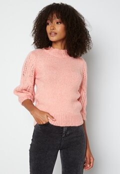 ONLY Sussie Wool 3/4 Highneck Pullover Silver Pink bubbleroom.fi