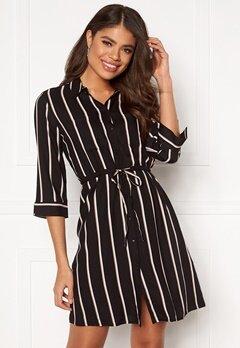 ONLY Tamari 3/4 Shirt Dress Black, Stripes Bubbleroom.fi