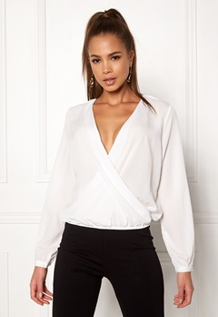 ONLY Toscany LS Deep V Top Cloud Dancer Bubbleroom.fi