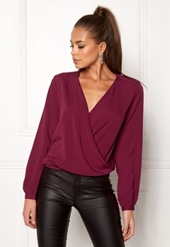 ONLY Toscany LS Deep V Top Red/Plum Bubbleroom.fi