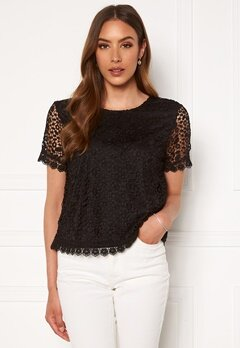 ONLY Trissy Lace SS Top Black Bubbleroom.fi