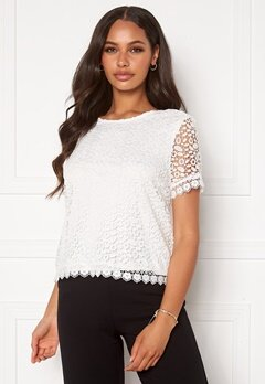 ONLY Trissy Lace SS Top Cloud Dancer Bubbleroom.fi