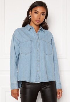 ONLY Unit Life Oversize Shirt Light Blue Denim Bubbleroom.fi