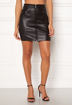 ONLY Violet Faux Leather Skirt Black Bubbleroom.fi