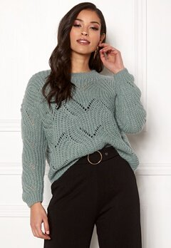 ONLY Havana L/S Pullover Knit Chinois Green Bubbleroom.fi
