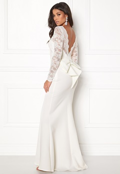 Goddiva Open Back Lace Dress White Bubbleroom.fi