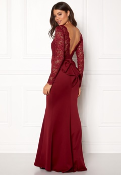 Goddiva Open Back Lace Dress Wine Bubbleroom.fi