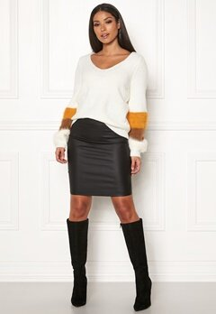 Pieces Paro HW Coated Skirt Black Bubbleroom.fi