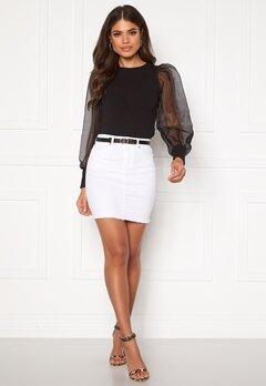 Pieces Aia MW Denim Skirt Bright White Bubbleroom.fi