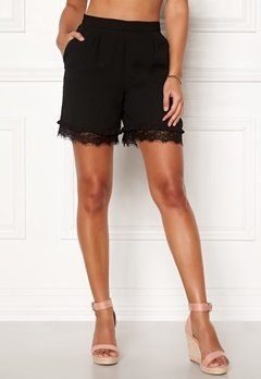 Pieces Brook MW Shorts Black Bubbleroom.fi