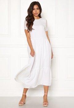 Pieces Casandra SS Midi Dress Bright White Bubbleroom.fi