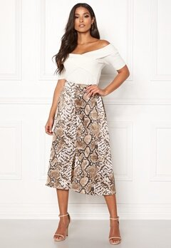 Pieces Celinen MW Midi Skirt Almond Milk/Snake Bubbleroom.fi