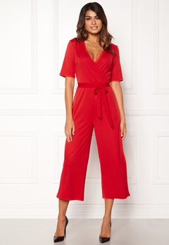 Pieces Duna 2/4 Cropped Jumpsuit Flame Scarlet Bubbleroom.fi