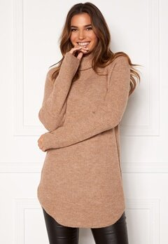 Pieces Ellen LS Long Knit Natural Bubbleroom.fi
