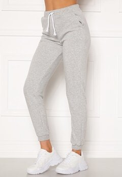 Pieces Emila MW Pants Light Grey Melange Bubbleroom.fi