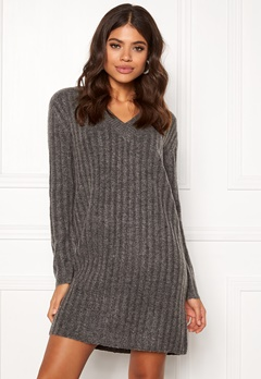 Pieces Fanni LS Long Wool Knit Dark Grey Melange Bubbleroom.fi