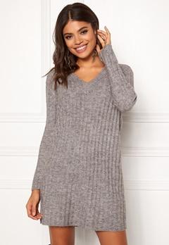 Pieces Fanni LS Long Wool Knit Light Grey Melange Bubbleroom.fi
