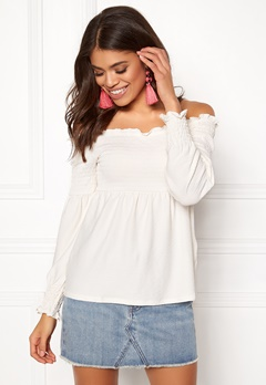 Pieces Gurli LS Offshoulder Top Cloud Dance Bubbleroom.fi