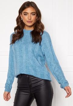 Pieces Hara LS O-Neck Knit Alaska Blue Bubbleroom.fi