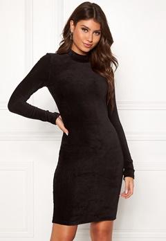 Pieces Indira LS T-Neck Dress Black Bubbleroom.fi