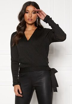 Pieces Jenna LS Lurex Wrap Knit Black/Lurex Bubbleroom.fi