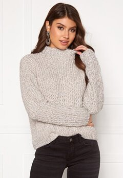 Pieces Jenny LS High Neck Knit Almond Milk Bubbleroom.fi
