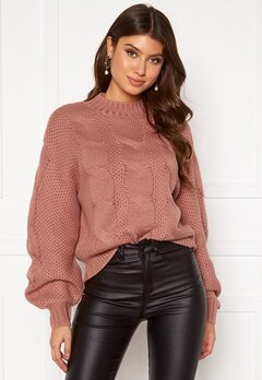 Pieces Jolina LS O Neck Knit Ash Rose Bubbleroom.fi