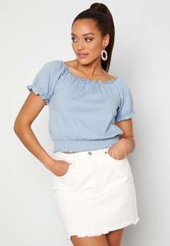 Pieces Leaf Ss Cropped Smock Top Kentucky Blue bubbleroom.fi