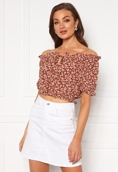 Pieces Maggie SS Cropped Top Copper Brown Bubbleroom.fi