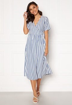 Pieces Malia SS Wrap Midi Dress Cloud Dancer S:Lblue Bubbleroom.fi