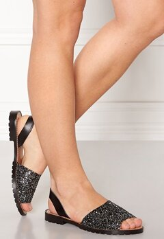 Pieces Mercy Leather Glitter Sandal Gunmetal Bubbleroom.fi