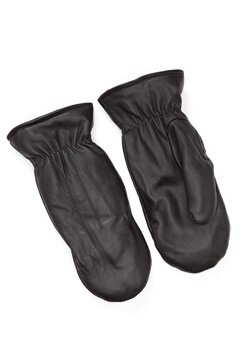 Pieces Nellie Leather Mittens Black Bubbleroom.fi