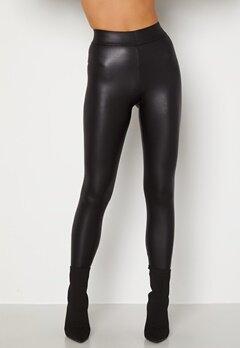 Pieces New Shiny HW Leggings Black Bubbleroom.fi