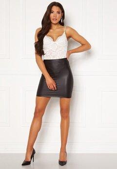 Pieces New Shiny HW Skirt Black Bubbleroom.fi