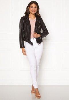 Pieces Nicoline Leather Jacket Black Bubbleroom.fi