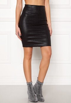 Pieces Paro HW Glitter Skirt Black Bubbleroom.fi