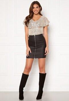 Pieces Roxy HW Zip Coated Skirt Black Bubbleroom.fi