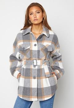 Pieces Selma Overshirt Jacket Whitecap Gray Checks Bubbleroom.fi