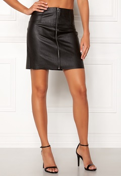Pieces Tecia Faux Leather Skirt Black Bubbleroom.fi